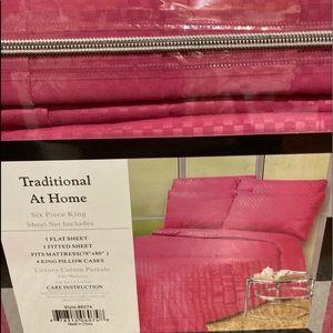 Traditional At Home 6pc King Sheet Set Hot pink